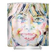 Joni Mitchell - Watercolor Portrait Shower Curtain