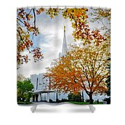Jordan River Temple Shower Curtain by La Rae  Roberts