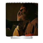 Joseph And The Angel Shower Curtain by Georges de la Tour