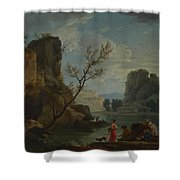Joseph Vernet   A River With Fishermen Shower Curtain