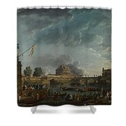 Joseph Vernet   A Sporting Contest On The Tiber At Rome Shower Curtain