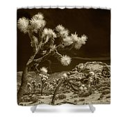Joshua Trees And Boulders In Infrared Sepia Tone Shower Curtain