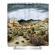 California Desert Landscape - Watercolor Art Shower Curtain