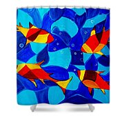 Joy Fish Abstract Shower Curtain