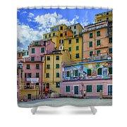 Joy In Colorful House In Piazza Di Riomaggiore, Cinque Terre, Italy Shower Curtain