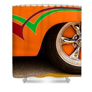 Joy Ride - Street Rod In Orange, Red, And Green Shower Curtain