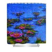 Joyful State - Modern Impressionistic Art - Palette Knife Landscape Painting Shower Curtain