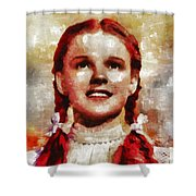 Judy Garland, Vintage Actress By Mb Shower Curtain