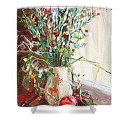 Jug With  Red Apple Shower Curtain