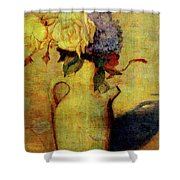 Jug With Yellow And Violet Flowers Shower Curtain