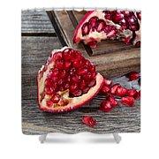Juicy Ripe Pomegranates On Vintage Wood  Shower Curtain