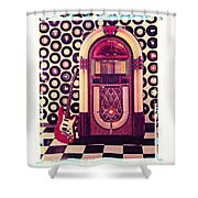 Juke Box Polaroid Transfer Shower Curtain