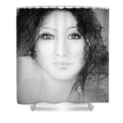 Julia In Black And White Shower Curtain