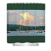 July Sky Over A Maine Harbor Shower Curtain