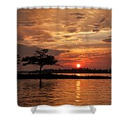 July Summer Sunset At Detroit Point Shower Curtain