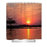 July Sunset At Detroit Point Shower Curtain