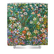 Jumbled Up Wildflowers Shower Curtain