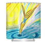 Jumping Right On Target Shower Curtain