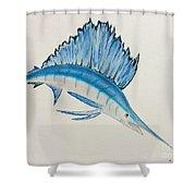 Jumping Swordfish  Shower Curtain