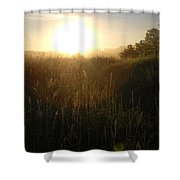 June Sunrise Over Dew On Grass Shower Curtain