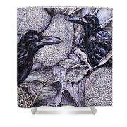 Jungle Crows On Jackfruit Shower Curtain