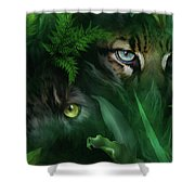 Jungle Eyes - Panther And Ocelot  Shower Curtain