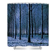 Jungle Trees In Blue  Shower Curtain