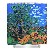 Juniper Trees And Deer Shower Curtain