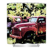 Junked Fire Engines Shower Curtain