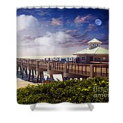 Juno Beach Pier Treasure Coast Florida Seascape Dawn C5a Shower Curtain