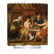 Jupiter And Mercury In The House Of Philemon And Baucis Shower Curtain