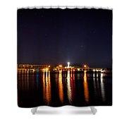 Jupiter Florida  Inlet Lighthouse At Night Shower Curtain