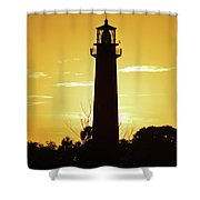 Jupiter Lighthouse Golden Sunrise Shower Curtain