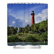 Jupiter Lighthouse Sq Shower Curtain