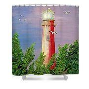 Jupiter Lighthouse - Sunburst Shower Curtain