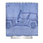 Jurassic Park Jeep Blueprint Shower Curtain