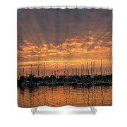 Just A Sliver Of The Sun - Sunrise God Rays At The Marina Shower Curtain