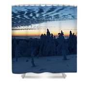Just Before Sunrise On The Brocken In The Harz Mountains Shower Curtain