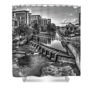Just Before Sunset B W Reedy River Falls Park Greenville South Carolina Art Shower Curtain