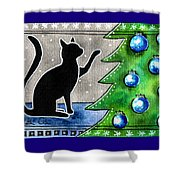 Just Counting Balls - Christmas Cat Shower Curtain