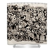 Just Halloweeny Things V6 Shower Curtain by Chelsea Geldean