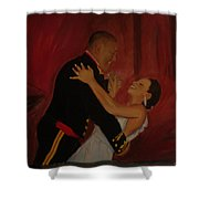 Just Married Shower Curtain by Regina Walsh