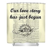 Just Married Wedding Gift Shower Curtain