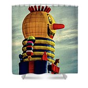 Just Passing Through  Hot Air Balloon Shower Curtain by Bob Orsillo