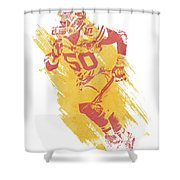 Justin Houston Kansas City Chiefs Water Color Art 1 Shower Curtain