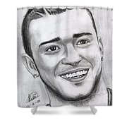 Justing Timberlake Portrait Shower Curtain