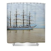 Kaiwo Maru On The Way To The Open Ocean. Shower Curtain