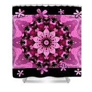 Kaleidoscope 1 With Black Flower Framing Shower Curtain