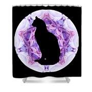 Kaleidoscope Cat Silhouette Shower Curtain by Deleas Kilgore