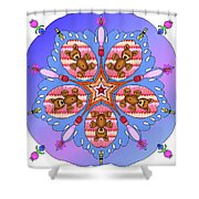 Kaleidoscope Of Bears And Bees Shower Curtain